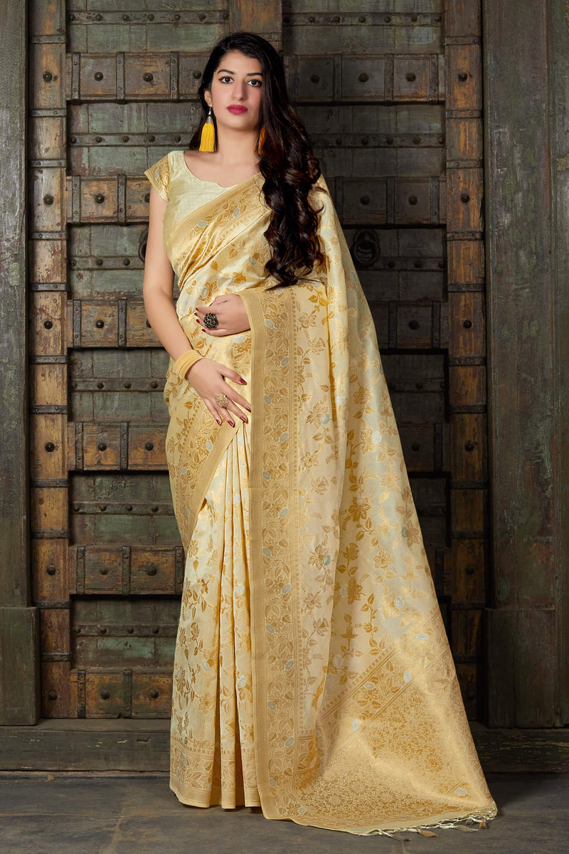 Ivory Banarasi Art Silk Saree - Maryada Silk by Manjubaa