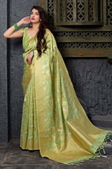 Lime Green Banarasi Art Silk Saree - Maryada Silk by Manjubaa