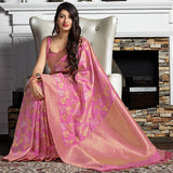 Bubblegum Pink Banarasi Art Silk Saree - Maryada Silk by Manjubaa