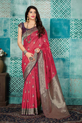 Salmon Pink Banarasi Art Silk Saree - Mayra Silk by Manjubaa