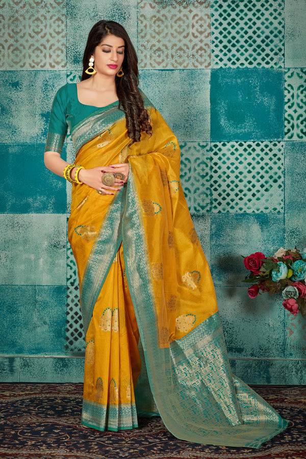 Yellow Banarasi Art Silk Saree - Mayra Silk by Manjubaa