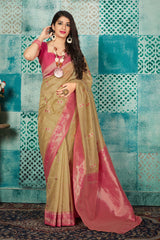 Cream Banarasi Art Silk Saree - Mayra Silk by Manjubaa