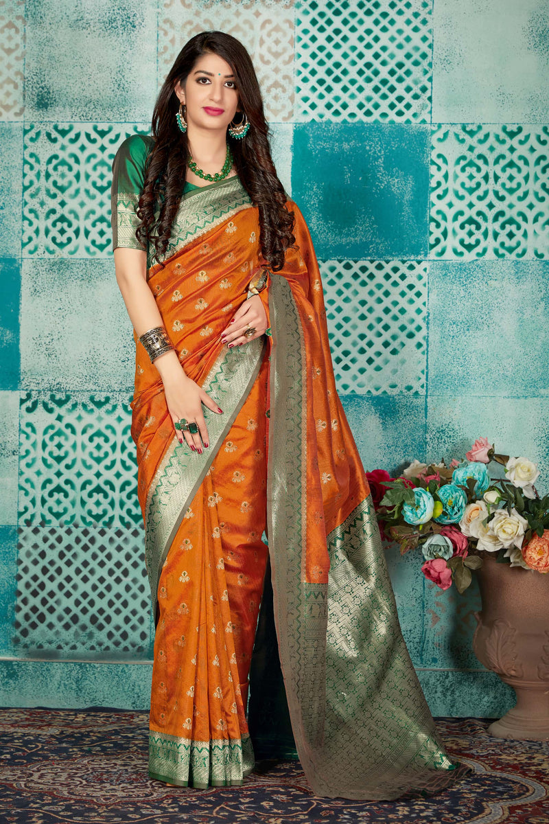 Orange Banarasi Art Silk Saree - Mayra Silk by Manjubaa