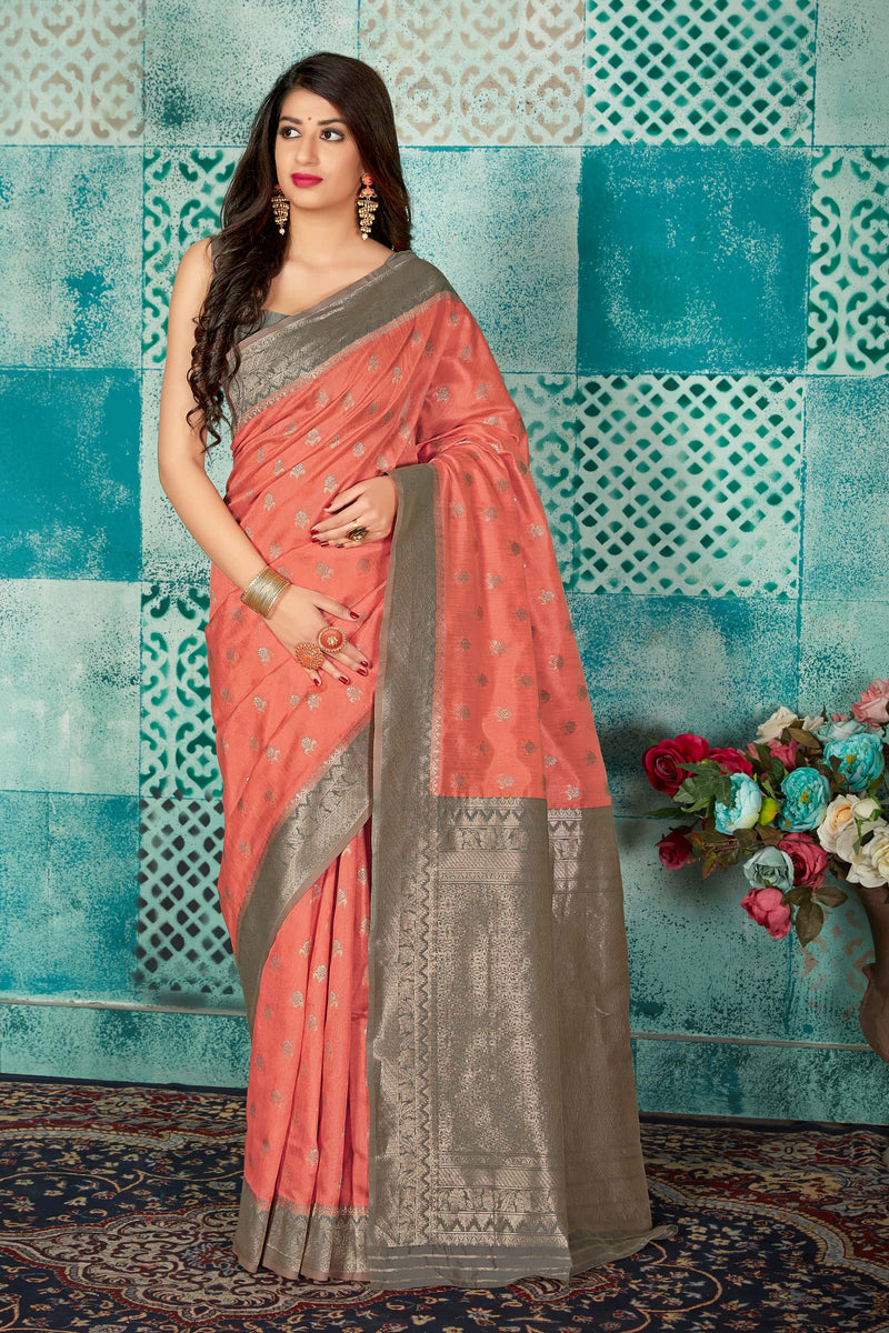 Peach Banarasi Art Silk Saree - Mayra Silk by Manjubaa