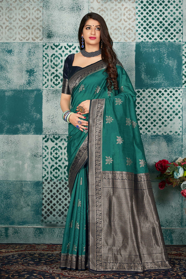 Bottle Green Banarasi Art Silk Saree - Mayra Silk by Manjubaa