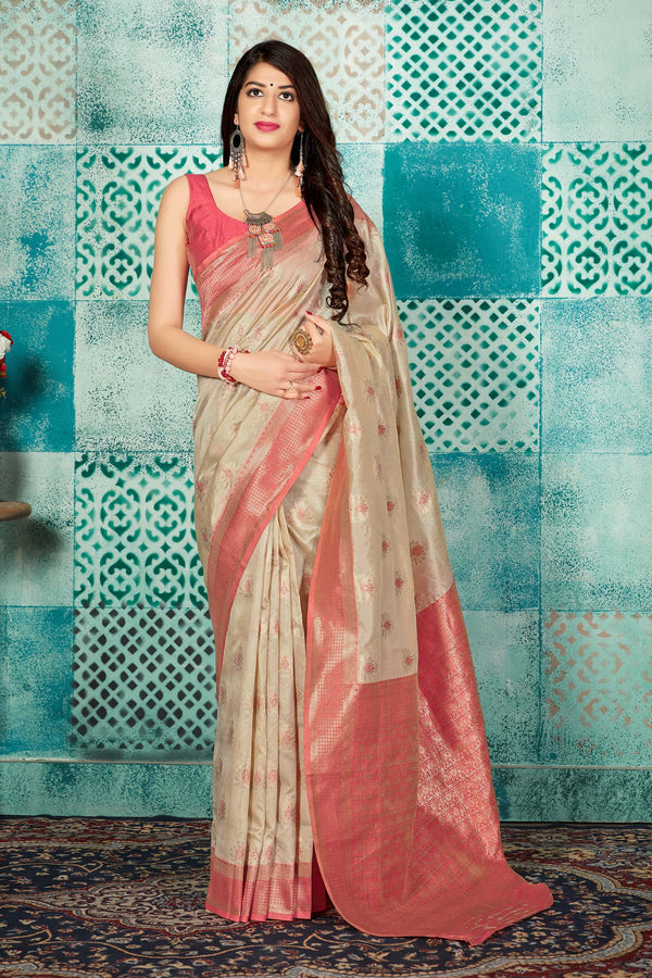 Off White Banarasi Art Silk Saree - Mayra Silk by Manjubaa