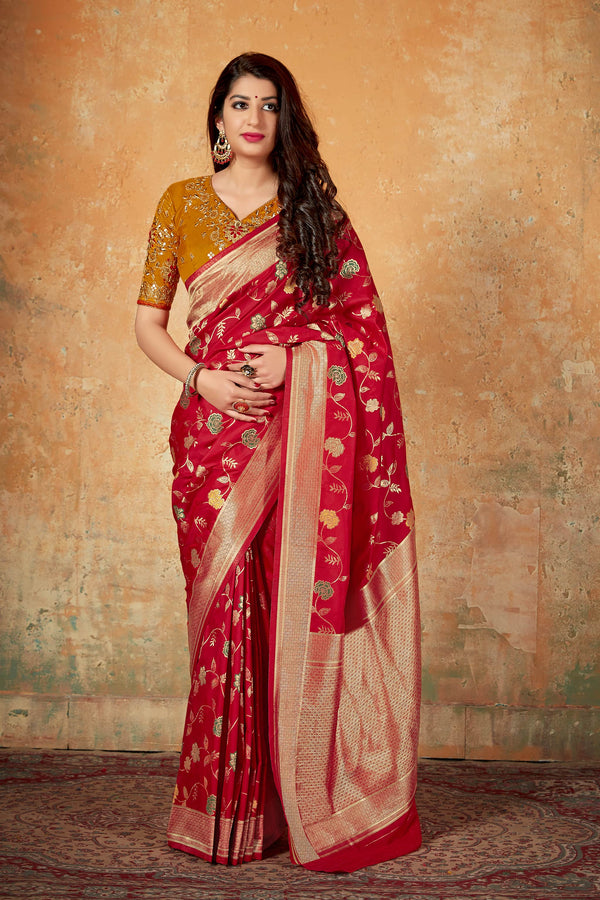 Red Banarasi Silk Saree - Mahavalli Silk by Manjubaa
