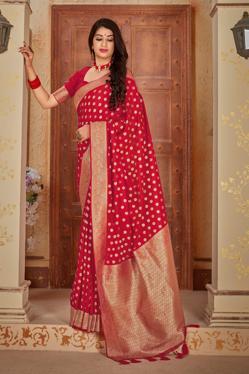 Red Banarasi Satin Silk Saree - Mahavalli Silk by Manjubaa