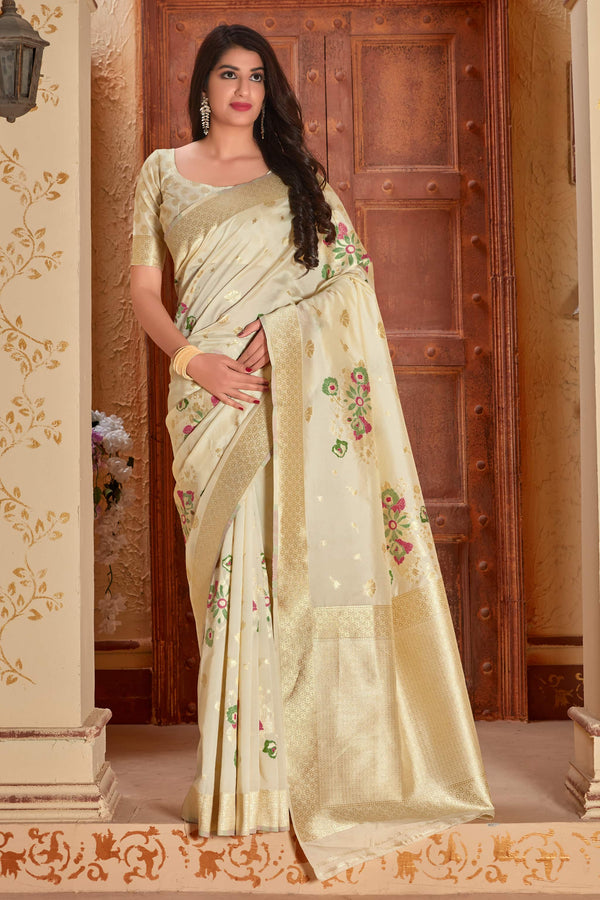 Off White Banarasi Silk Saree - Manya Silk by Manjubaa