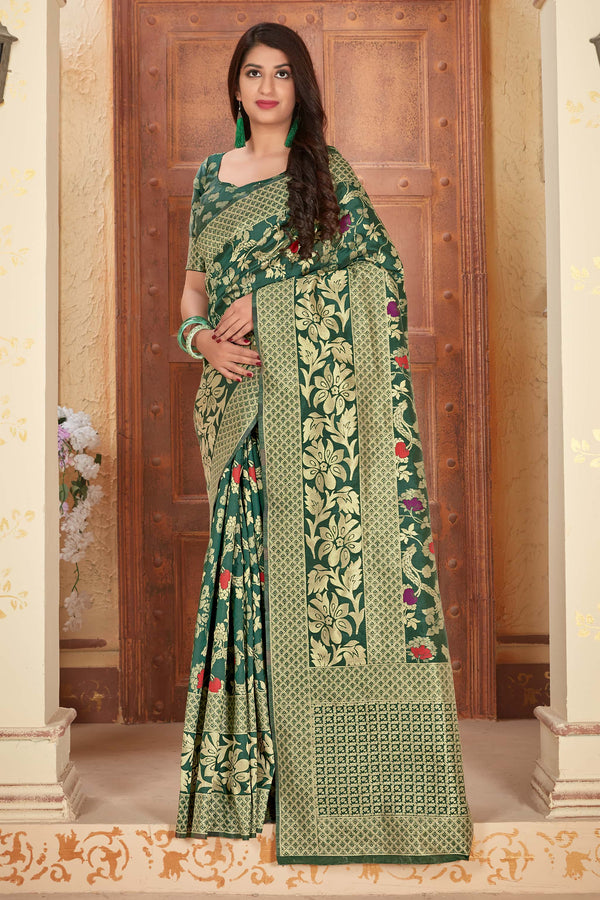 Bottle Green Banarasi Silk Saree - Manya Silk by Manjubaa