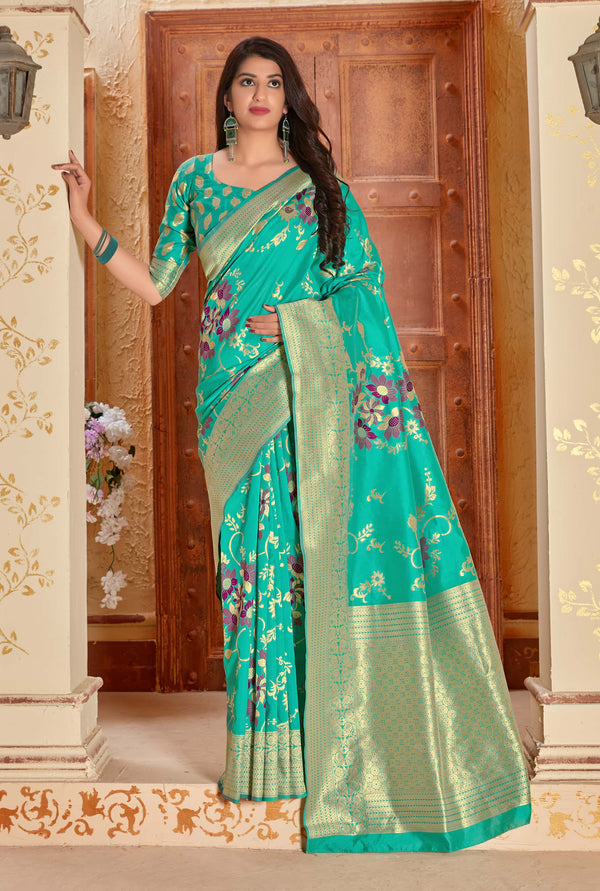 Cyan Green Banarasi Silk Saree - Manya Silk by Manjubaa