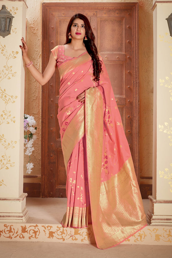 Peach Banarasi Silk Saree - Manya Silk by Manjubaa