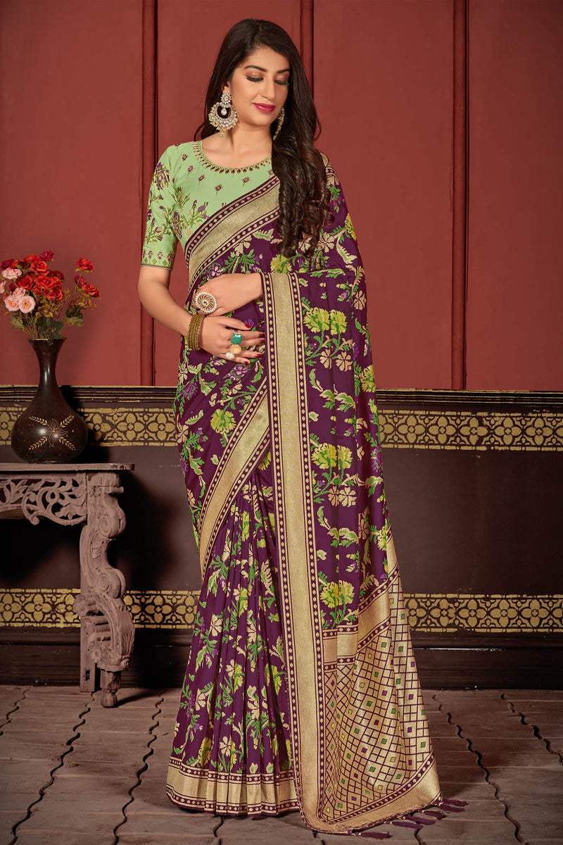 Designer Wine Super Soft Banarasi Silk Saree - Mahashri Silk by Manjubaa