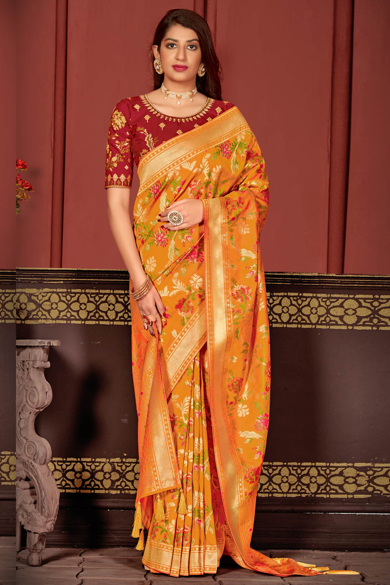 Designer Gold Yellow Super Soft Banarasi Silk Saree - Mahashri Silk by Manjubaa
