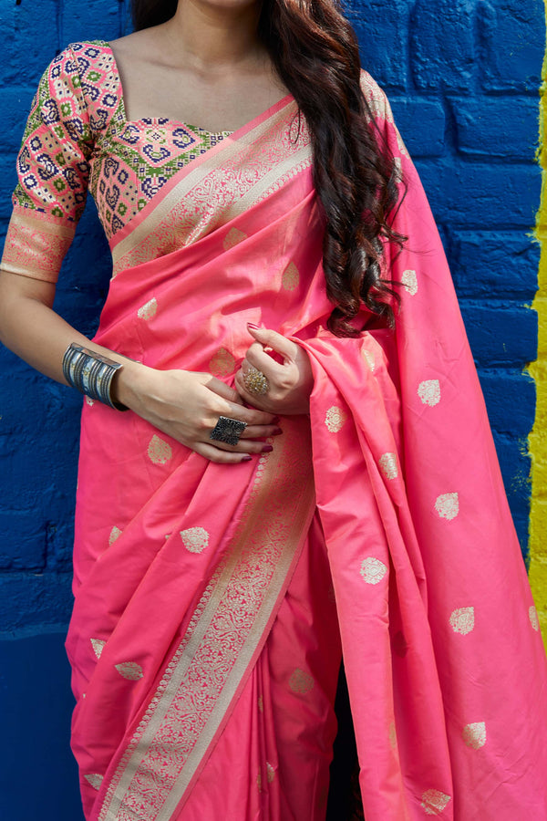 Pink Soft Banarasi Silk Saree - Misri Silk by Manjubaa