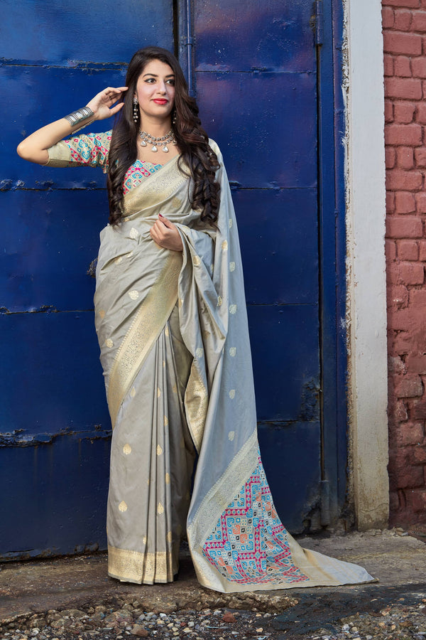 Ash Grey Soft Banarasi Silk Saree - Misri Silk by Manjubaa
