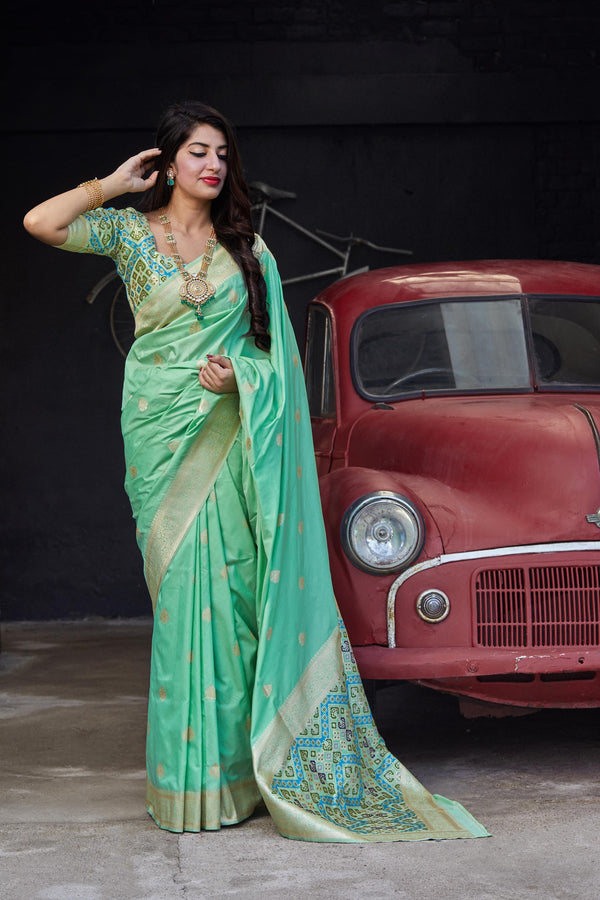 Sea Green Soft Banarasi Silk Saree - Misri Silk by Manjubaa