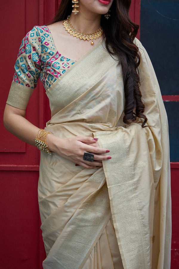 Beige Soft Banarasi Silk Saree - Misri Silk by Manjubaa