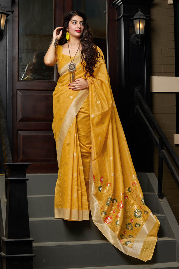 Mustard Banarasi Cotton Silk Saree - Manjari Silk by Manjubaa