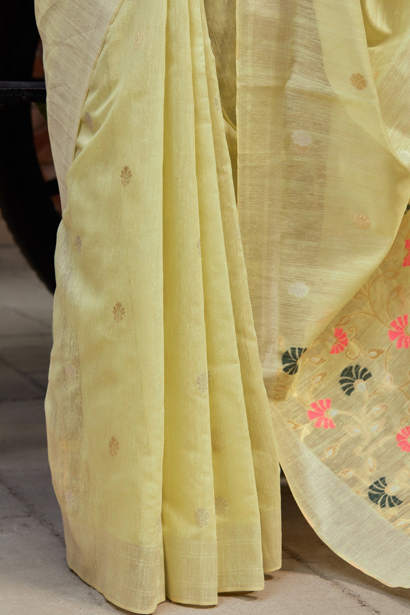 Lemon Green Banarasi Cotton Silk Saree - Manjari Silk by Manjubaa