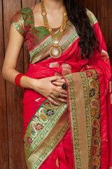 Red Soft Banarasi Silk Saree - Maithili Silk by Manjubaa