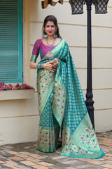 Sky Blue Soft Banarasi Silk Saree - Maithili Silk by Manjubaa