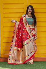 Red Soft Banarasi Silk Saree - Manyata Silk by Manjubaa