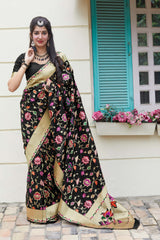 Black Soft Banarasi Silk Saree - Manyata Silk by Manjubaa