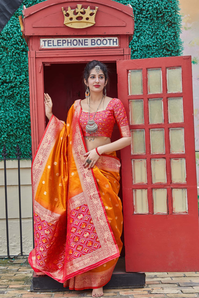 Orange Banarasi Art-Silk Pallu Patola Saree - Mahalaya Silk by Manjubaa