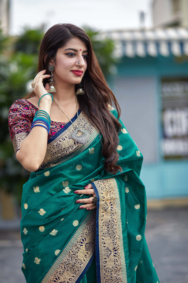 Teal Green Banarasi Art-Silk Pallu Patola Saree - Mahalaya Silk by Manjubaa
