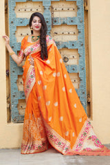 Orange Soft Banarasi Silk Saree - Malhar Silk by Manjubaa