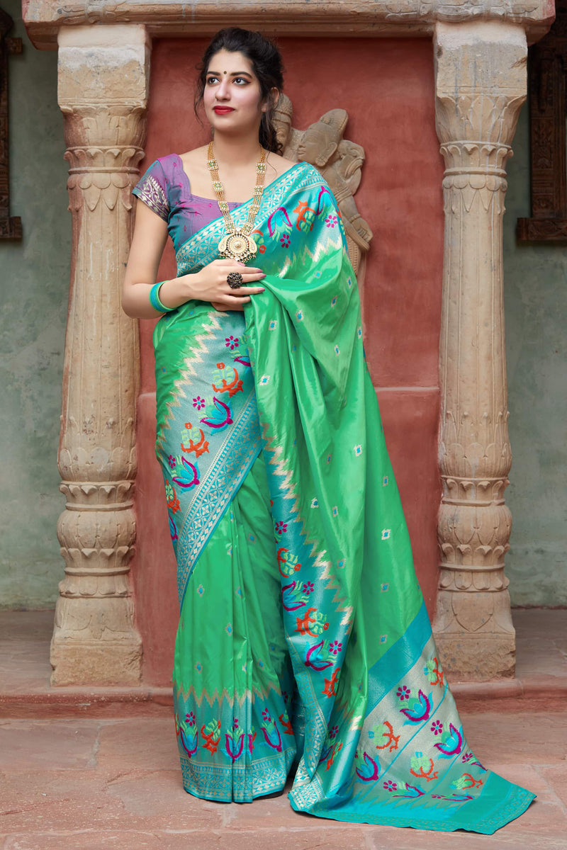 Lyril Soft Banarasi Silk Saree - Malhar Silk by Manjubaa