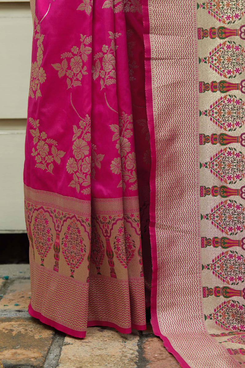 Fuschia Soft Banarasi Silk Saree - Malhar Silk by Manjubaa