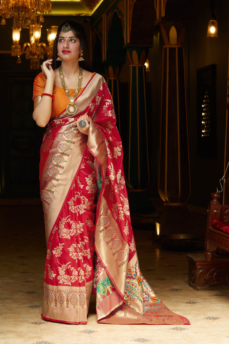 Red Soft Banarasi Silk Saree - Malhar Silk by Manjubaa