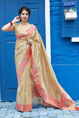 Beige Super Soft Banarasi Silk Saree - Premium Collection by Manjubaa