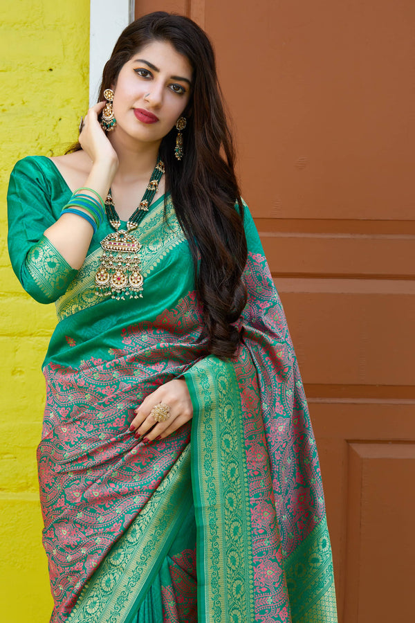 Sea Green Super Soft Banarasi Silk Saree - Premium Collection by Manjubaa