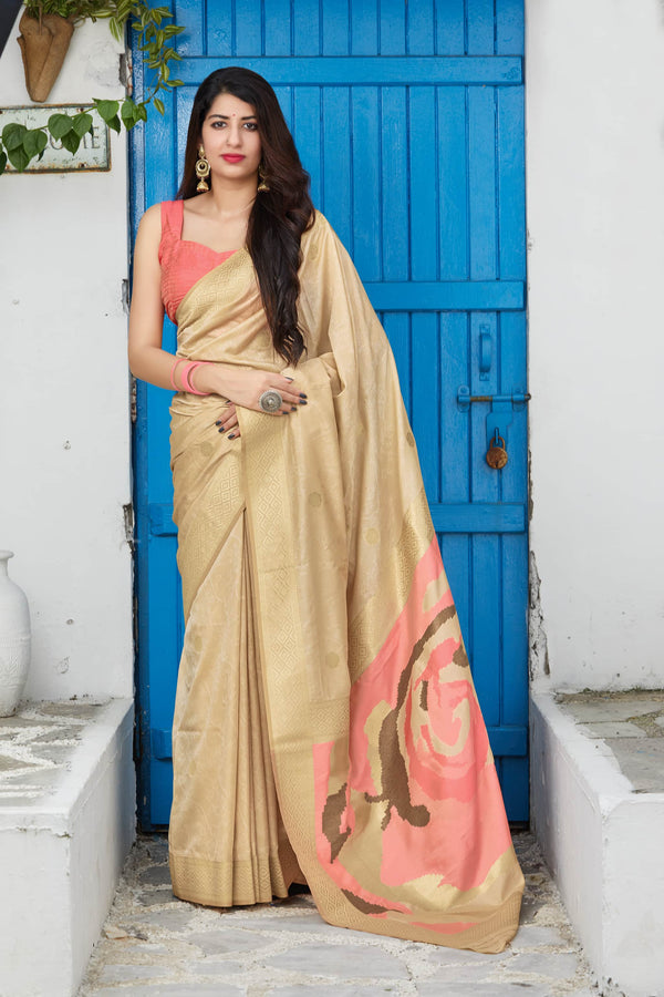 Wheatish Super Soft Banarasi Silk Saree - Premium Collection by Manjubaa