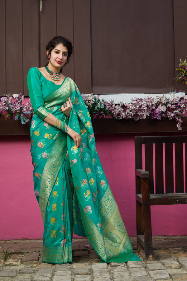 Turquise Super Soft Banarasi Silk Saree - Premium Collection by Manjubaa