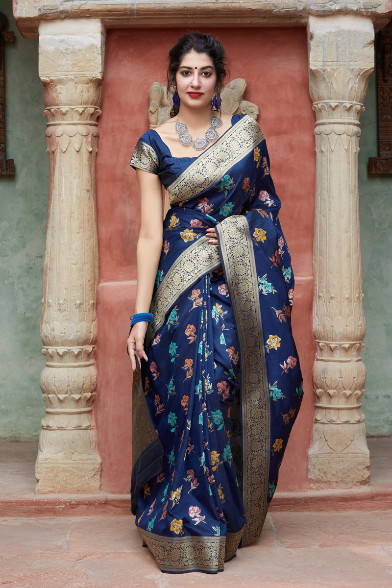 Navy Super Soft Banarasi Silk Saree - Premium Collection by Manjubaa