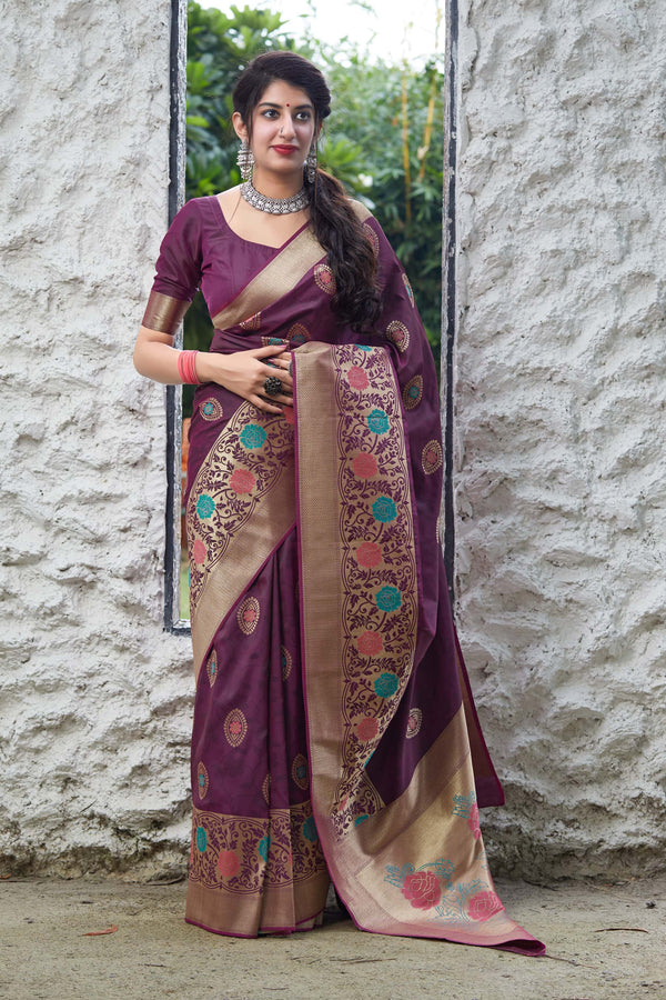 Violet Super Soft Banarasi Silk Saree - Premium Collection by Manjubaa