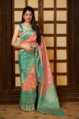 Baby Pink Super Soft Banarasi Silk Saree - Premium Collection by Manjubaa