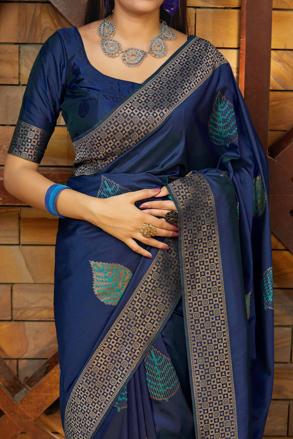 Navy Blue Super Soft Banarasi Silk Saree - Premium Collection by Manjubaa
