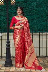 Red Super Soft Banarasi Silk Saree - Premium Collection by Manjubaa