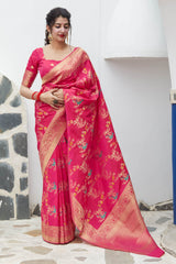 Pink Super Soft Banarasi Silk Saree - Premium Collection by Manjubaa