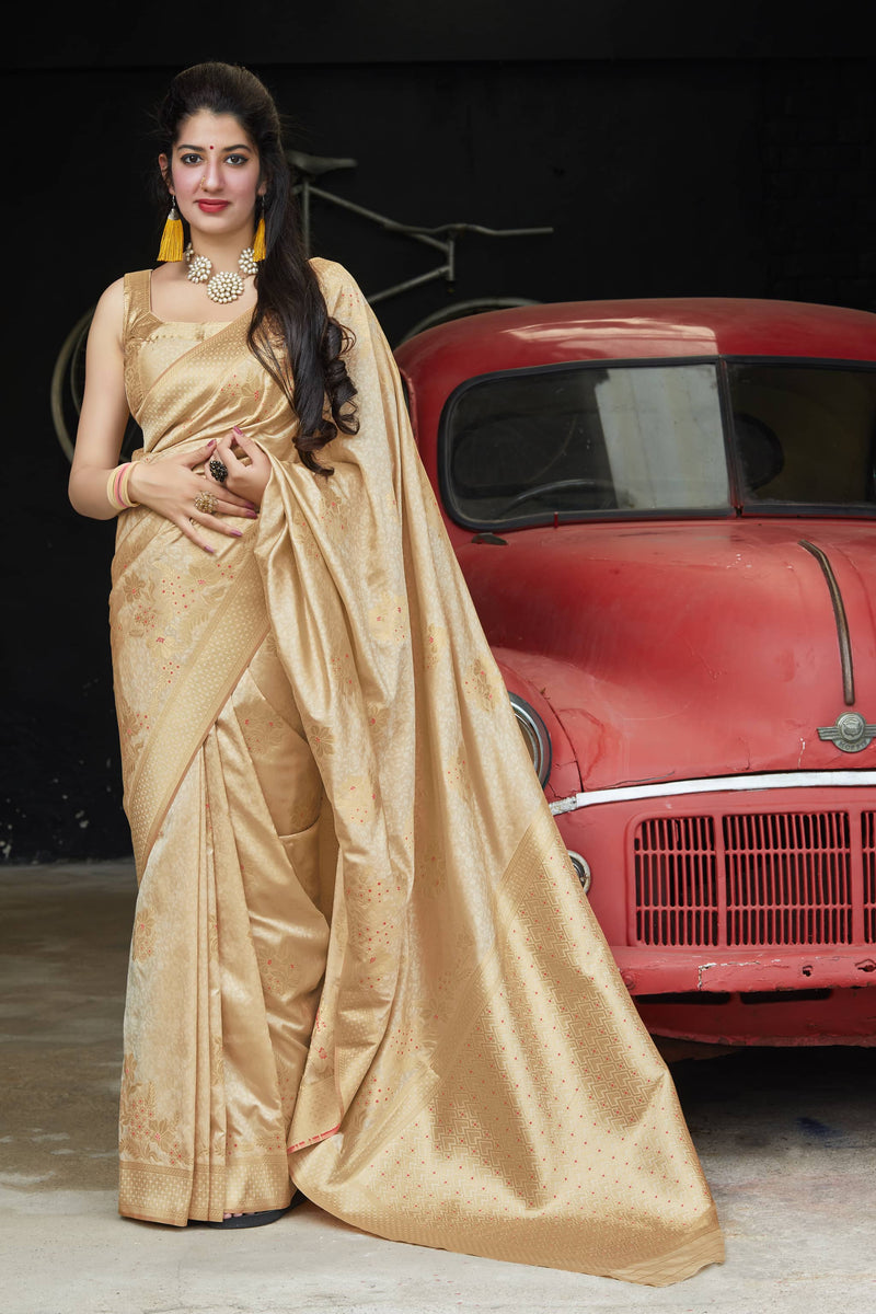 Cloud Cream Super Soft Banarasi Silk Saree - Premium Collection by Manjubaa