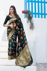 Black Super Soft Banarasi Silk Saree - Premium Collection by Manjubaa