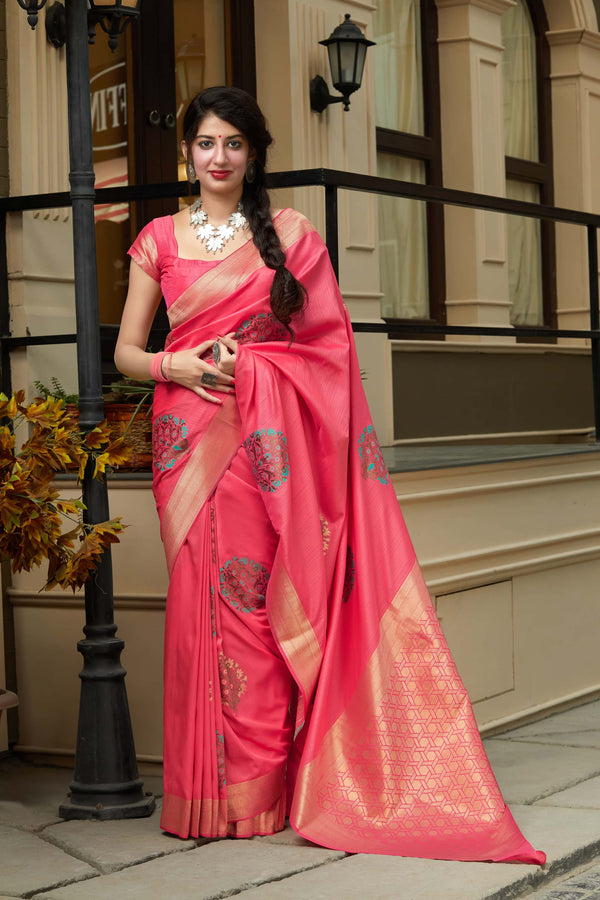 Watermelon Super Soft Banarasi Silk Saree - Premium Collection by Manjubaa