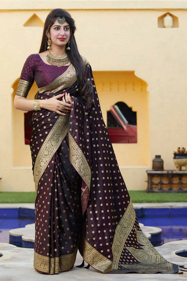 Dark Wine Banarasi Satin Silk Saree - Mukunda Silk by Manjubaa