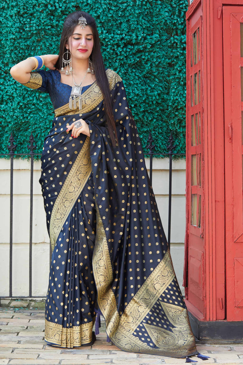 Navy Banarasi Satin Silk Saree - Mukunda Silk by Manjubaa