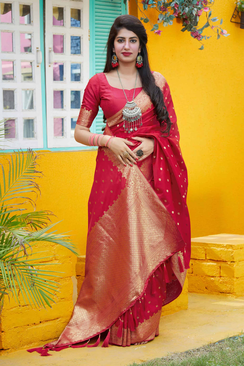Red Banarasi Satin Silk Saree - Mukunda Silk by Manjubaa